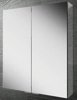 HIB Eris 60 Double Door Aluminium Mirrored Cabinet - W 600 x H 700mm