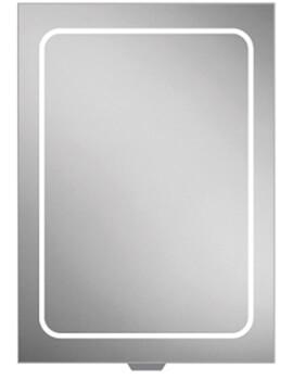 HIB Vapor Single Door LED Illuminated 500 x 700mm Aluminium Mirror Cabinet