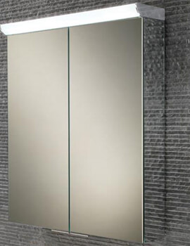 HIB Flare 600 x 700mm Double Door LED Top Illuminated Mirror Cabinet