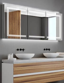 HiB Edge 120 Triple Door LED Illuminated Cabinet - W 1200 x H 700mm