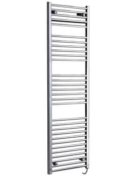 Phoenix Flavia Chrome 500 x 800mm Straight Pre Filled Electric Bathroom Heater