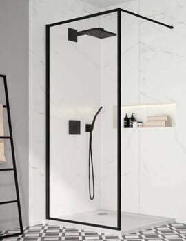 Merlyn Black Framed Showerwall Wetroom Panel - W 800 x H 2010mm