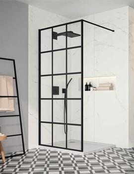 Merlyn Black Squared Showerwall Wetroom Panel - W 900 x H 2000mm