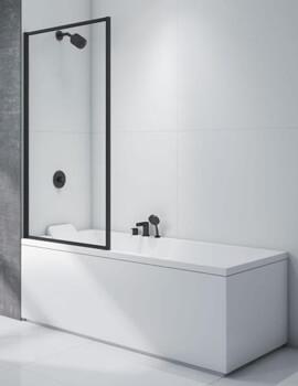 Merlyn Black Framed Bath Screen 8mm Clear Glass - W 800 x H 1500mm