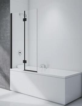 Merlyn Black 2-Panel Hinged Bathscreen - Left Handed - W 900 x H 1500mm