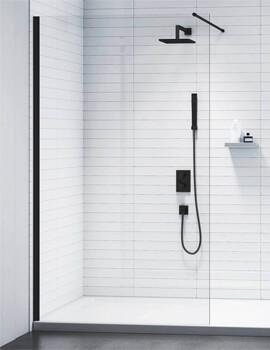 Merlyn Black Frameless Showerwall Wetroom Panel - W 700 x H 2015mm