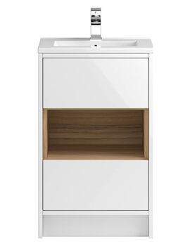 Hudson Reed Coast Floor Standing Open Shelf 2 Drawer Vanity Unit With Basin