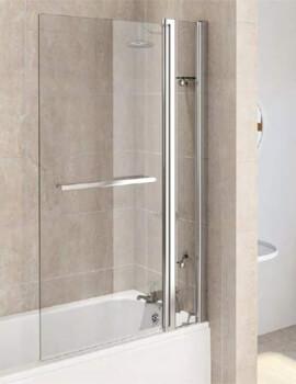 Aqualux Aqua 6 Square Fixed Bath Screen Panel And Towel Rail Polished Silver