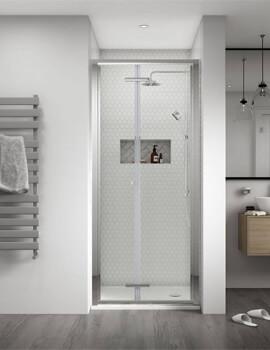Aqualux Shine 8 2000mm High Bi-Fold Door Polished Silver