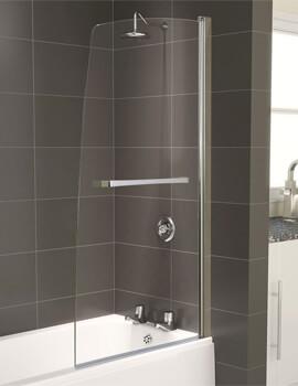 Aqualux Aqua 5 Half Frame Polished Silver Bath Screen 800 x 1500mm