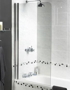 Aqualux Aqua 3 Shine Radius Bath Screen 850 x 1500mm Polished Silver