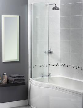 Aqualux Aqua 3 Shine Curved Bath Screen 710 x 1500mm Polished Silver