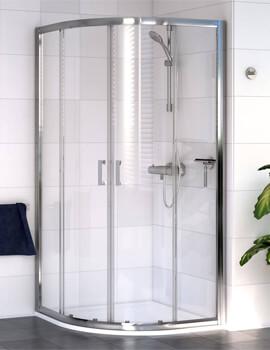 Aqualux Shine 6 Quadrant 1850mm High Shower Enclosure Polished Silver
