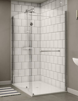 Aqualux Shine 6 Walk In Shower Enclosure Curved With Slim Line Shower Tray Polished Silver
