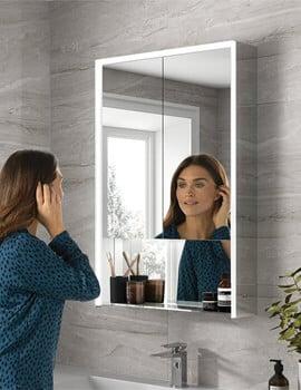 HIB Verve 60 LED Illuminated Mirror Cabinet - Double Door