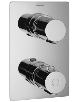 Flova Annecy Slim Square Concealed Thermostatic Shower Valve - 125 x 185mm