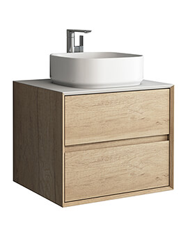 IMEX Grace Natural Oak Wall Mounted Cabinet With Two Drawer