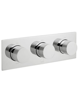 Vado Horizontal Knurled Handles Concealed Thermostatic Shower Valve With 3 Outlet 3 Handle