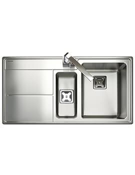 Rangemaster Arlington 1.5 Bowl Inset Stainless Steel Kitchen Sink Polished -  985 x 508mm