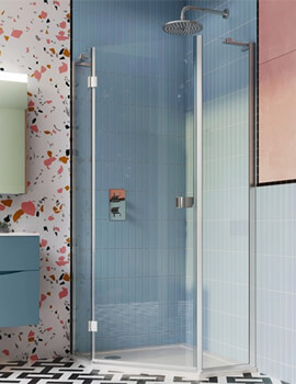 Crosswater Design Plus 900mm Semi Frame-Less Pentagon Shower Enclosure