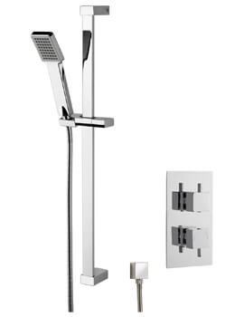 Nuie Conc Thermostatic Shower Valve With Slide Rail Kit And Outlet Elbow