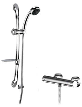 Nuie Binsey Thermostatic Bar Valve And Curved Slider Rail Kit